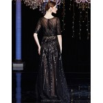 Formal Evening Dress - Clover / Black A-line Bateau Floor-length Tulle / Charmeuse / Sequined Special Occasion Dresses