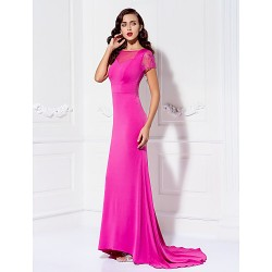 Formal Evening Dress Fuchsia Plus Sizes Petite Trumpet Mermaid Bateau Sweep Brush Train Jersey