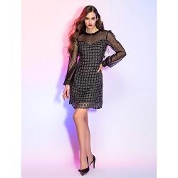 Cocktail Party Prom Holiday Dress Black Plus Sizes Petite Sheath Column Jewel Short Mini Lace
