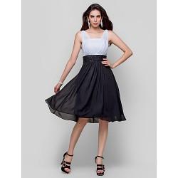 Cocktail Party Dress Multi Color Plus Sizes Petite A Line Princess Straps Knee Length Chiffon
