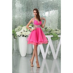 Cocktail Party Dress Candy Pink Petite A Line Halter Sweetheart Knee Length Court Train Organza