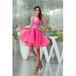 Cocktail Party Dress - Candy Pink Petite A-line Halter / Sweetheart Knee-length / Court Train Organza Special Occasion Dresses