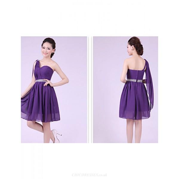 Short/Mini Bridesmaid Dress - Grape A-line / Princess One Shoulder Special Occasion Dresses