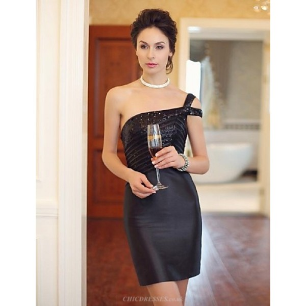 Cocktail Party Dress - Black Fit & Flare One Shoulder Short/Mini Crepe Special Occasion Dresses