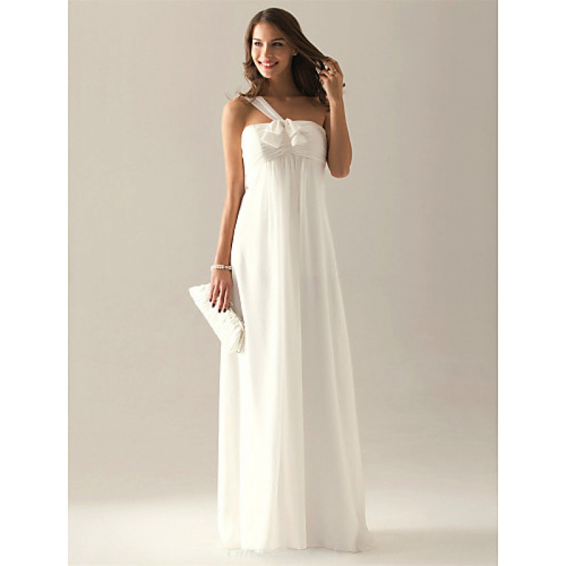 8b8cfd82fd ... Floor-length Chiffon Bridesmaid Dress - Ivory Plus Sizes   Hourglass    Pear   Misses ...