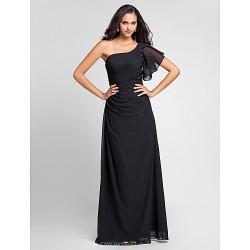 Floor Length Chiffon Bridesmaid Dress Black Plus Sizes Petite Sheath Column One Shoulder