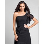 Floor-length Chiffon Bridesmaid Dress - Black Plus Sizes / Petite Sheath/Column One Shoulder Special Occasion Dresses