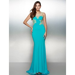 Formal Evening Dress - Ocean Blue Trumpet/Mermaid Scoop Sweep/Brush Train Jersey