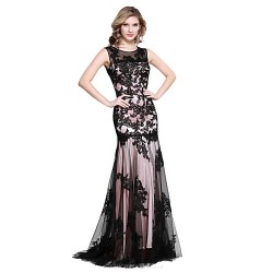 Formal Evening Dress Candy Pink Trumpet Mermaid Scoop Floor Length Tulle Charmeuse