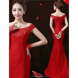 Formal Evening Dress Ruby Plus Sizes Trumpet Mermaid Off The Shoulder Sweep Brush Train Lace