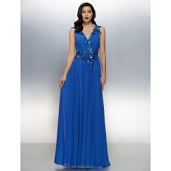 Dress - Royal Blue Plus Sizes / Petite A-line V-neck Floor-length Chiffon