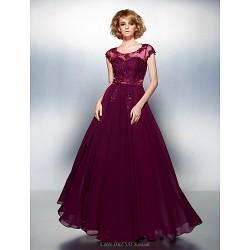 Dress - Grape Plus Sizes / Petite A-line Scoop Floor-length Chiffon