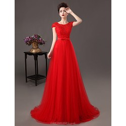 Formal Evening Dress - Ruby Plus Sizes A-line / Sheath/Column Jewel Sweep/Brush Train Lace