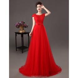 Formal Evening Dress Ruby Plus Sizes A Line Sheath Column Jewel Sweep Brush Train Lace