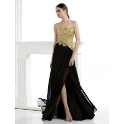 Formal Evening Dress Sheath Column Strapless Floor Length Lace