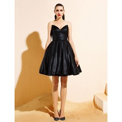 Homecoming Cocktail Party Dress - Black Ball Gown V-neck Knee-length Jersey