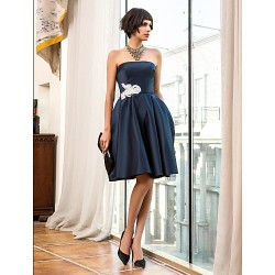 Cocktail Party Holiday Dress Dark Navy Plus Sizes Petite A Line Strapless Knee Length Satin
