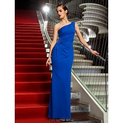 Formal Evening / Military Ball Dress - Royal Blue Plus Sizes / Petite Sheath/Column One Shoulder Ankle-length Jersey
