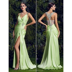 Prom / Formal Evening Dress - Sage Plus Sizes Sheath/Column V-neck Sweep/Brush Train Satin Chiffon
