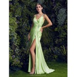 TS Couture Prom / Formal Evening Dress - Sage Plus Sizes Sheath/Column V-neck Sweep/Brush Train Satin Chiffon Special Occasion Dresses