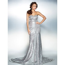 Formal Evening Dress - Silver Plus Sizes / Petite Trumpet/Mermaid Strapless / Sweetheart Court Train Sequined