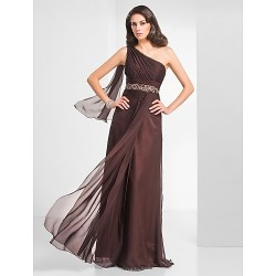 Formal Evening Prom Military Ball Dress Chocolate Plus Sizes Petite Sheath Column One Shoulder Floor Length Chiffon