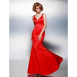Prom Formal Evening Dress Ruby Plus Sizes Petite Trumpet Mermaid V Neck Floor Length Satin