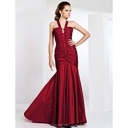 Formal Evening Prom Military Ball Dress Burgundy Plus Sizes Petite Trumpet Mermaid Straps Sweep Brush Train Taffeta