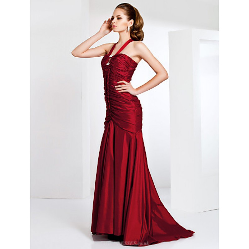 Formal Evening Prom Military Ball Dress Burgundy