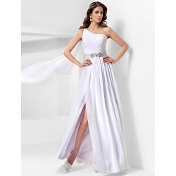 Formal Evening / Military Ball Dress - White Plus Sizes / Petite A-line / Princess One Shoulder Floor-length Chiffon