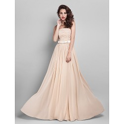 Floor Length Georgette Bridesmaid Dress Champagne Plus Sizes Hourglass Pear Misses Petite Apple Inverted Triangle