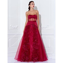 Formal Evening Prom Military Ball Dress Burgundy Plus Sizes Petite A Line Princess Strapless Floor Length Satin Organza