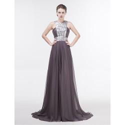 Dress - Silver Sheath/Column Jewel Floor-length Chiffon
