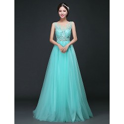 Formal Evening Dress Sky Blue A Line Scoop Sweep Brush Train Tulle