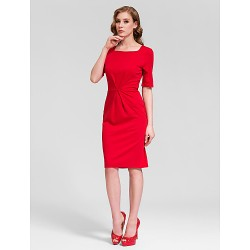 Cocktail Party Dress Ruby Plus Sizes Sheath Column Square Short Mini Cotton