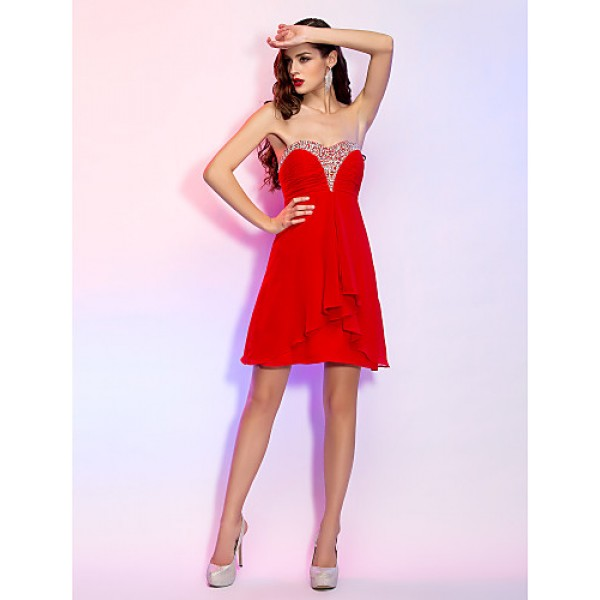 Cocktail Party / Homecoming / Holiday Dress - Ruby Plus Sizes / Petite A-line Sweetheart Short/Mini Georgette Special Occasion Dresses