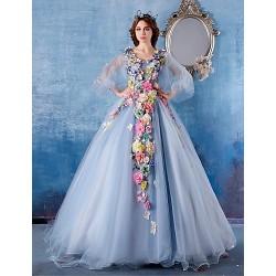 Formal Evening Dress Light Sky Blue Ball Gown V Neck Chapel Train Satin