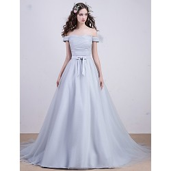 Cocktail Party Formal Evening Dress Silver A Line Bateau Court Train Tulle