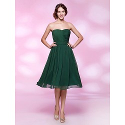 Cocktail Party Holiday Wedding Party Dress Dark Green Plus Sizes Petite A Line Princess Strapless Sweetheart Knee Length
