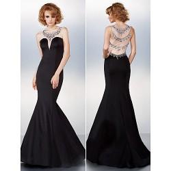 Dress Black Plus Sizes Petite Trumpet Mermaid Scoop Sweep Brush Train Chiffon Tulle