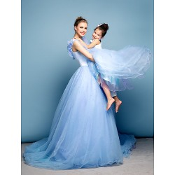 Formal Evening Dress Sky Blue Plus Sizes Petite Ball Gown Off The Shoulder Chapel Train Satin Tulle