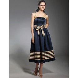 Cocktail Party Dress - Dark Navy Plus Sizes / Petite A-line / Princess Spaghetti Straps Tea-length Stretch Satin
