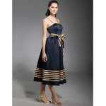 TS Couture Cocktail Party Dress - Dark Navy Plus Sizes / Petite A-line / Princess Spaghetti Straps Tea-length Stretch Satin Special Occasion Dresses