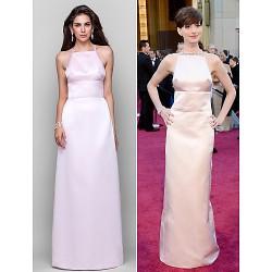 Formal Evening Military Ball Dress Blushing Pink Plus Sizes Petite Sheath Column Square Spaghetti Straps Floor Length Satin