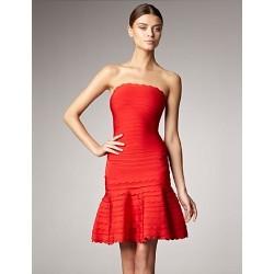 Cocktail Party Dress Ruby Petite A Line Strapless Short Mini Spandex Rayon Nylon Taffeta