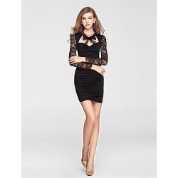 Cocktail Party Dress Black Sheath Column Sweetheart Short Mini Knit