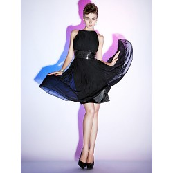Cocktail Party Sweet 16 Dress Black Plus Sizes Petite Sheath Column Bateau Knee Length Chiffon Stretch Satin