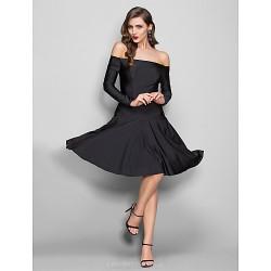 Dress Black Plus Sizes Petite Sheath Column Off The Shoulder Knee Length Jersey