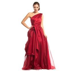 Formal Evening Dress Burgundy A Line One Shoulder Floor Length Organza Satin