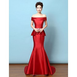 Formal Evening Dress Ruby Trumpet Mermaid Off The Shoulder Sweep Brush Train Satin